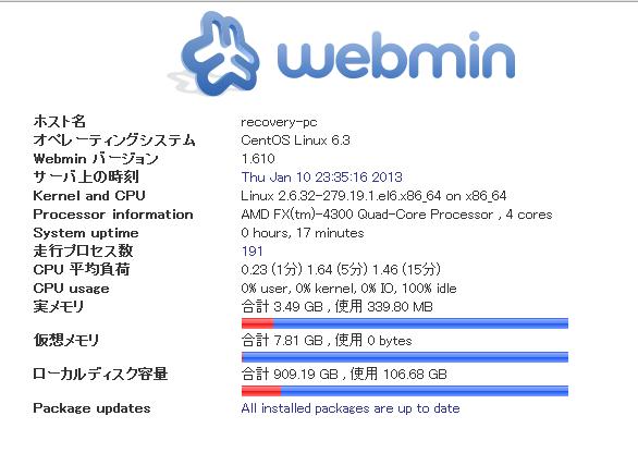 webmin コントールパネルを使用